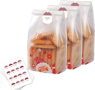 Sacchetti per biscotti autoadesivi in cellophane 200 pezzi 100 per Natale trasparenti 14 x 14 cm giorno del Ringraziamento