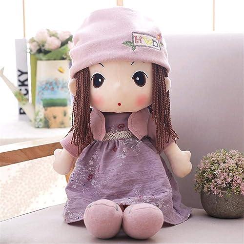 PANGDUDU Lila Sü mädchen Puppe Plüschtier Puppe Kinder Puppe Prinzessin Schlafkissen Geburtstagsgeschenk Kinder, 90Cm