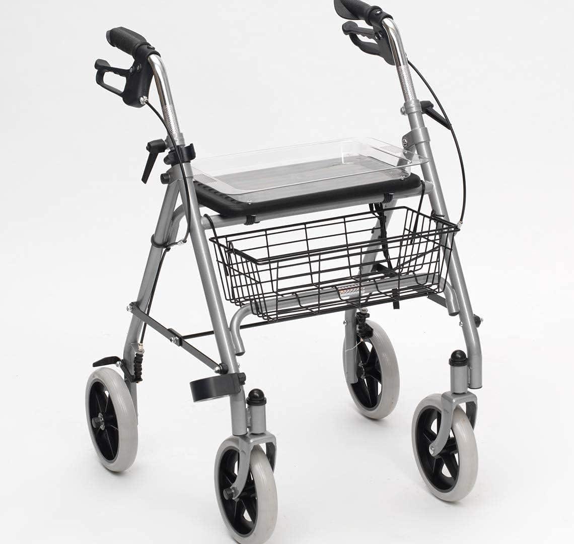 Rollator Walker - Andador médico para personas mayores y adultos, silla de ruedas, rehabilitación médica para personas mayores, ancianos, altura ajustable, asiento plegable para adultos (color plata)