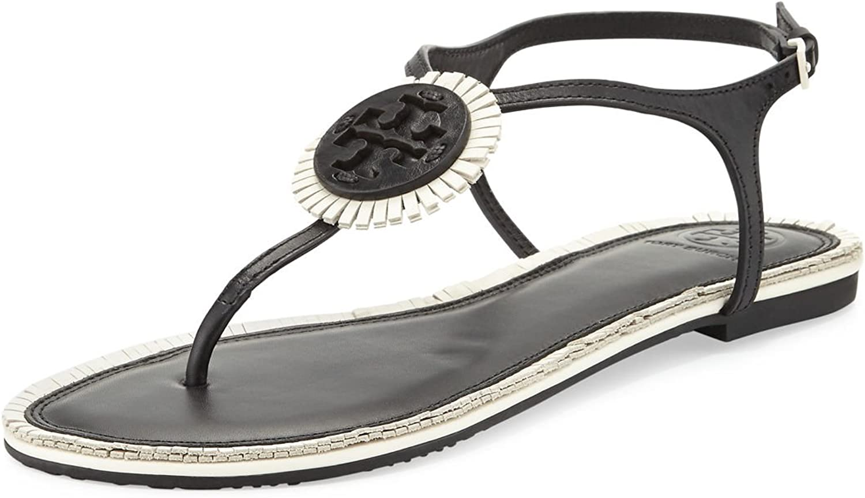 Tory Burch Miller Logo Fringe Leather Flat T-Strap Sandal (Black Bleach)