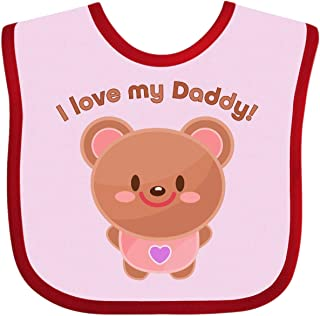 Inktastic I Love My Daddy- Cute Baby Bear Baby Bib Pink and Red