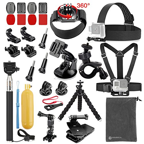 VANWALK Basic Common Accessories for GoPro HERO5 Session 4/3+/3/2/1 Camera, DBPOWER, AKASO, Canany, Lightdow, SJCAM, APEMAN, Campark, ODRVM, Xiao mi Yi 2/4K Action Video Cameras (for DBPOWER)