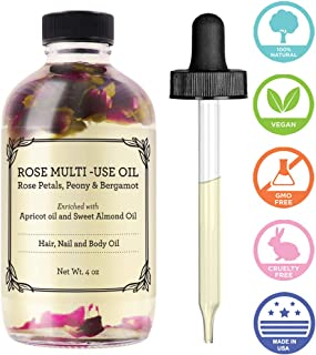 Rose Multi-Use Oil for Face, Body & Hair - Hydrates Skin & Restores Hair's Natural Shine - Rose Petals, Peony & Bergamot - Enriched with Apricot Oil, Sweet Almond Oil & Fractionated Coconut Oil - 4OZ