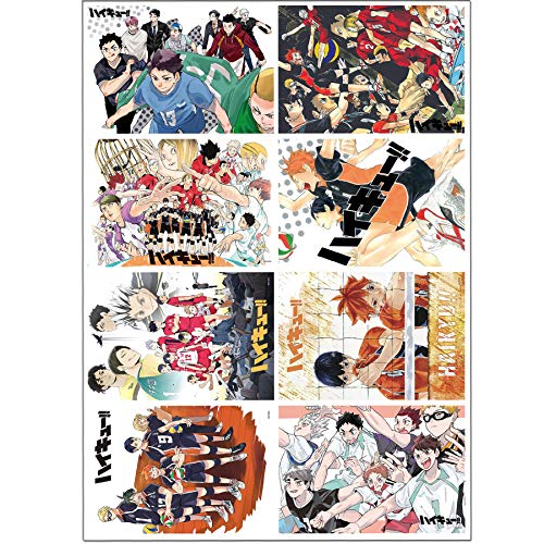Haikyuu Posters Japanese Anime Poster Set of 8 PCS Art Prints for Home Wall Decor, 11.5in x16.5in,