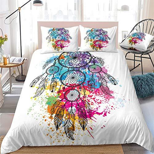 Chanyuan Atrapasueños multicolor, funda nórdica de 135 x 200 cm, 2 piezas, color blanco, hipoalergénico, suave microfibra, estilo exótico, plumas y flores, con funda de almohada de 80 x 80 cm