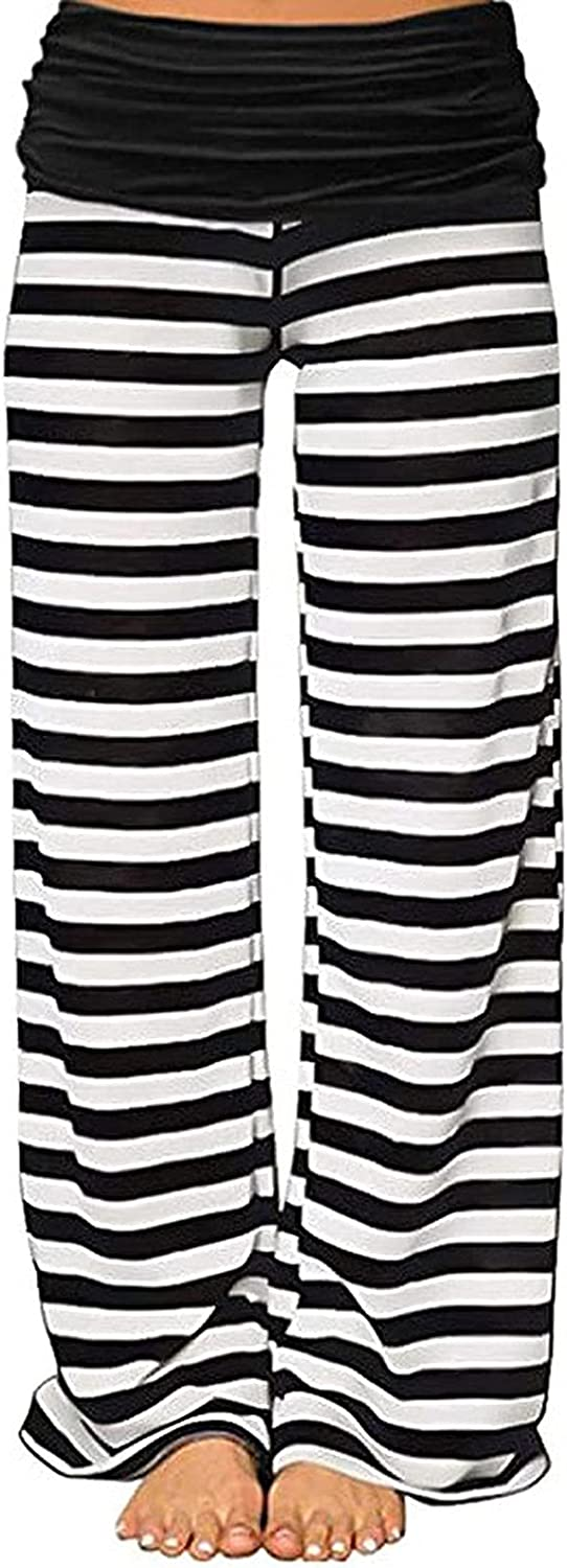 Kcocoo Women's High Rise Wide Leg Pants Casual Drawstring Loose Fit Elastic Waist Pajama Beach Straight Trousers with Pockets