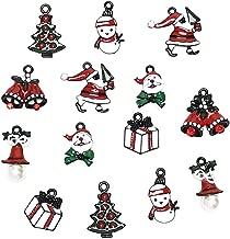 Chenkou Craft 14pcs Black Wholesale Lots Mix Alloy Christmas Pendants Charms Bracelet Necklace Jewelry Findings Christmas Tree Jingle Bell Snowman Claus Gift Box (Black Christmas Charm)