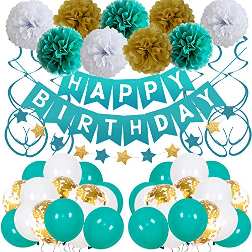 Birthday Decorations Girls Teal and Gold Birthday Balloons for Women Boys Men Happy Birthday Party Decor Suit for 1th 10th 13th 16th 18th 20th 21st 25th 30th 35th 40th 50th 60th