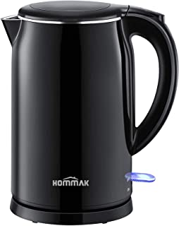 Habor Electric Kettle, 1.7L Double Wall 304 Stainless Steel Hot Water Kettle, 1500W Fast Boiling Coffee Pot & Tea Kettle, ...