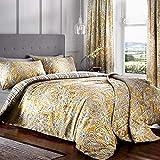 Dreams & Drapes - Juego de Funda nórdica y Funda de Almohada (52% poliéster, 48% algodón, tamaño King, Color Ocre)