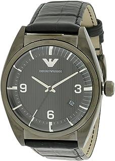 ساعة بمينا لون اسود وسوار من الجلد للرجال من امبوريو ارماني - Ar0368، عرض انالوج