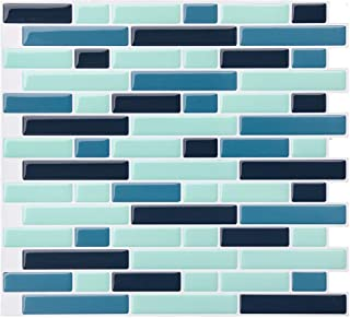 VIVID TREE Peel and Stick 3D Self Adhesive Wall Tile Backsplash for Kitchen Peel and Stick Contemporary Linear Gray Blue Resin Pastel Brick Tile Kitchen Wall Protector 11'' x 10'' (4 Sheets)