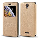TP-Link Neffos C5A Case, Wood Grain Leather Case with Card
