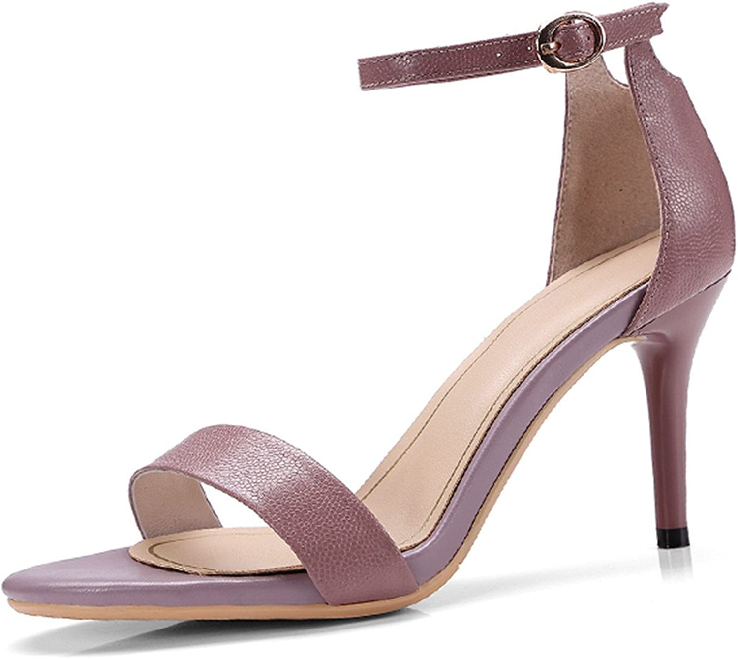 Sandals Open Toe Cow Leather Thin Heels Footwear 2018 New Buckle Ladies Ankle Strap Summer Office shoes