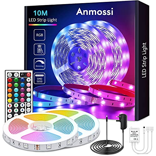 Anmossi LED Strip Light 10m, RGB Colour Changing LED Strip Light with Remote,Led Lights for Bedroom, Home, Living Room,TV,Kitchen,DIY Decoration