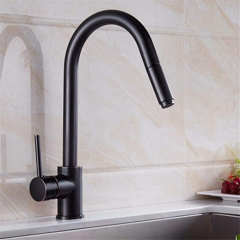 Willsego Küchenarmaturen schwarz schwenkbarer Auslauf aus massivem Messing Spültischarmatur hei und kalt (Farbe   -, Gre   -)