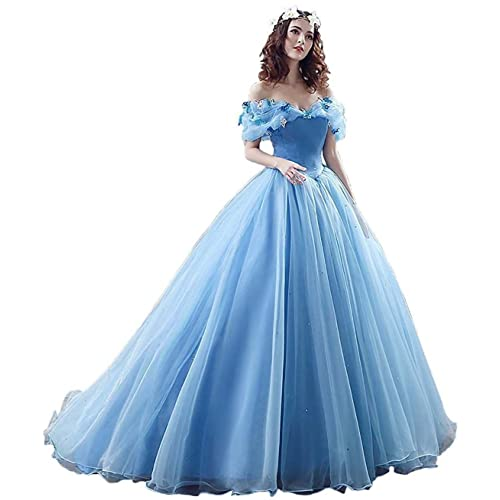 7ede02df3de Yinyyinhs Women s Princess Cinderella s Costume Ball Gown Off The Shoulder  Prom Gown Wedding Dresses Evening Gowns