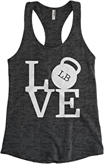 Cybertela Women's Love Weights Workout Gym Burnout Racerback Tank Top