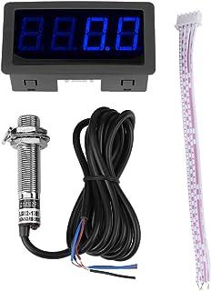 SANON 4 Digitalanzeige LED Drehzahlmesser Drehzahlmesser + Hall Näherungsschalter Sensor Npn (Blau)