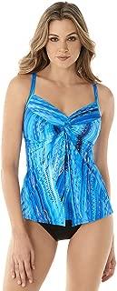 Miraclesuit Women's Swimwear Atlantis Love Knot Flyaway Front V-Neckline Underwire Bra Tankini Bathing Suit Top