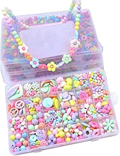 24種類 DIYビーズ 約450個 かわいい ビーズバーツ カラフル 女の子 おもちゃ ハンドメイド 手作り ラブリービーズ ブレスレット ネックレス 誕生日プレゼント 収納ケース付き (マカロン)