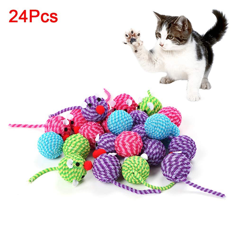 Danigrefinb Ratones Juguetes para Mascotas Gatitos Gatitos 24 Piezas Lindo Forma de Ratón Tubo de Cuerda Bola de Cuerda Juguete Interactivo: Amazon.es: Productos para mascotas