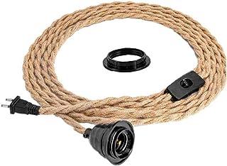 LAANCOO Lámpara Colgante Kit de la Cuerda del Cable de la lámpara de la Tela Pendiente de la Vendimia con el Trenzado Cuerda del cáñamo Toma para Habitación Sala de Granja de Cable Decoración