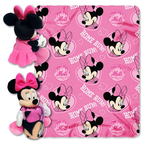 MLB New York Mets Co-Brand Disney Minnie Mouse Hugger & Fleece Throw Set, 40' x 50'
