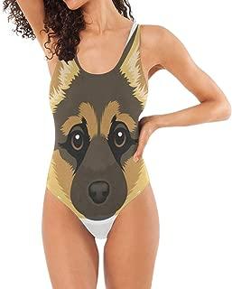 Women One Piece Swimsuit Cute German Shepherd Classic Backless Beach Swimwear