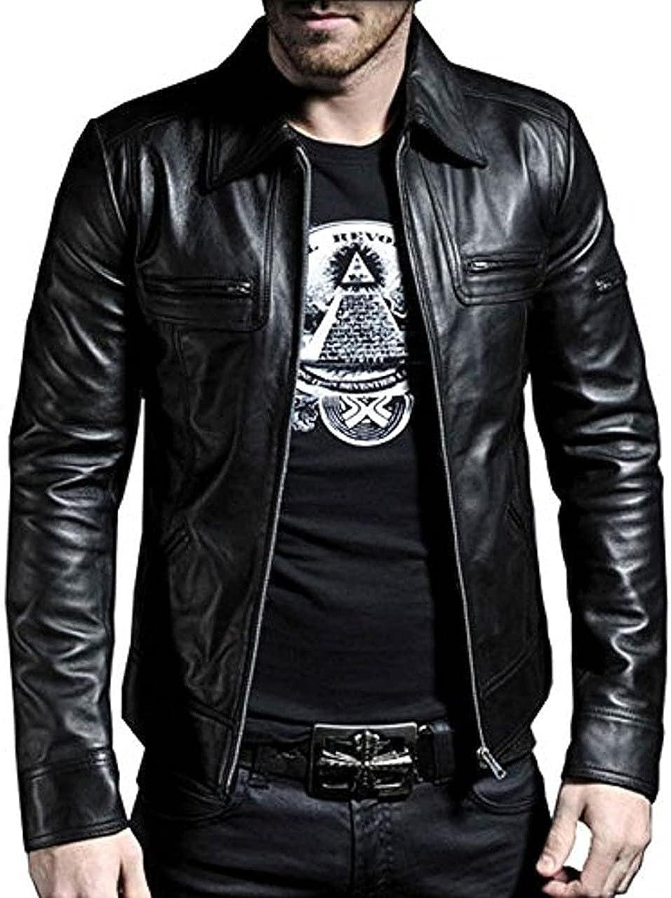 TCJ Men's Genuine Leather Jacket, Black Stylish, Lamb-skin Biker Leather Jacket