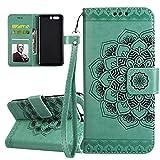 ISAKEN Compatibile con Huawei P10 Plus Custodia Cover, Libro PU Pelle Wallet Cover Flip Portafoglio Protezione Custodia con Supporto di Stand/Carte Slot/Strap[Shock-Absorption], Fiori: Verde