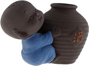 F Fityle Cute Buddha Statue Small Monk Figurine Tathagata India Yoga Mandala Sculptures Tea Pet Ceramic Crafts - Style 04