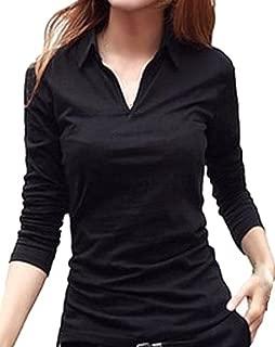 [ルナー ベリー] Vネック 襟付き カットソー 半袖 長袖 スリム Tシャツ レディース トップス