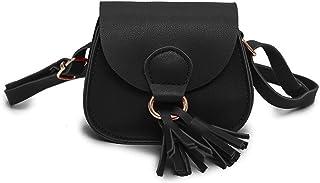 JUMISEE Kids Girls Toddler Mini Shoulder Purse Crossbody Bag with Tassel, Black, Small