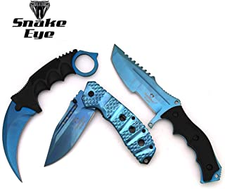 Snake Eye Tactical Triple Set - Karambit/Mini Huntsman/Folding Knife - Outdoors Hunting Camping Fishing Self Defense