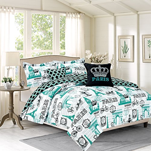 HowPlumb Bedding Twin Girls Comforter Bed Set, Paris Eiffel Tower London, Teal Blue