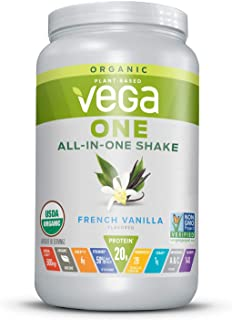 Vega One Organic All-in-One Shake, French Vanilla (18 Servings, 24 Ounce) - Plant Based Vegan Protein Powder with Vitamins, Minerals, Antioxidants, No Dairy, No Gluten, Non GMO, Large Tub