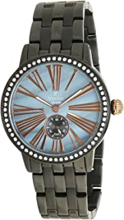 Venice V8119-IPB-BL Stainless Steel Stone embellished Bezel Round Analog Watch for Women - Brown