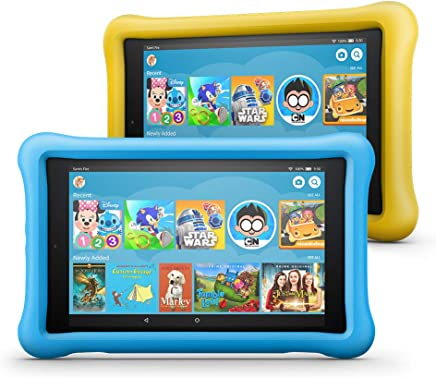 """All-New Fire HD 8 Kids Edition Tablet 2-Pack, 8"""" HD Display, 32 GB, Kid-Proof Case - Yellow/Blue"""
