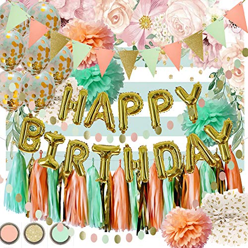 Mint Peach Gold Birthday Party Decorations by Qian's Party Glitter Gold Polka Dot Pom Pom Mint Peach Gold Confetti Balloons/Mint Strip Fabric Background for Girl Wild One Birthday Decorations