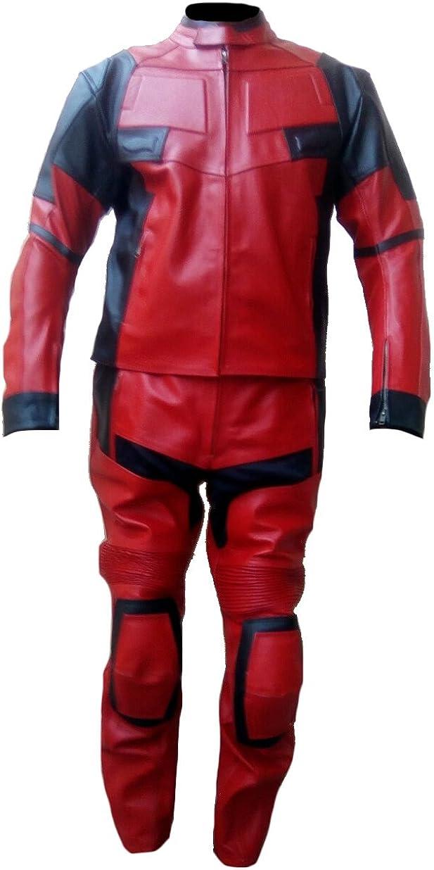 SleekHides Men's Fashion DP Real Leather Motorbike Suit