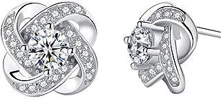 Swarovski Elements 925 Sterling Silver Stud Earrings for Women Girls Shiny Elegant Jewelry Gift for Party Valentine Day Bi...