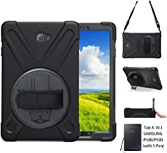 P580 Case, Galaxy Tab A 10.1 Case with S Pen, Shockproof High Impact Resistant Heavy Duty Armor Cover with Stand Hand Strap Shoulder Belt for Samsung Galaxy Tab A 10.1 P580 P585 (S Pen Version),Black