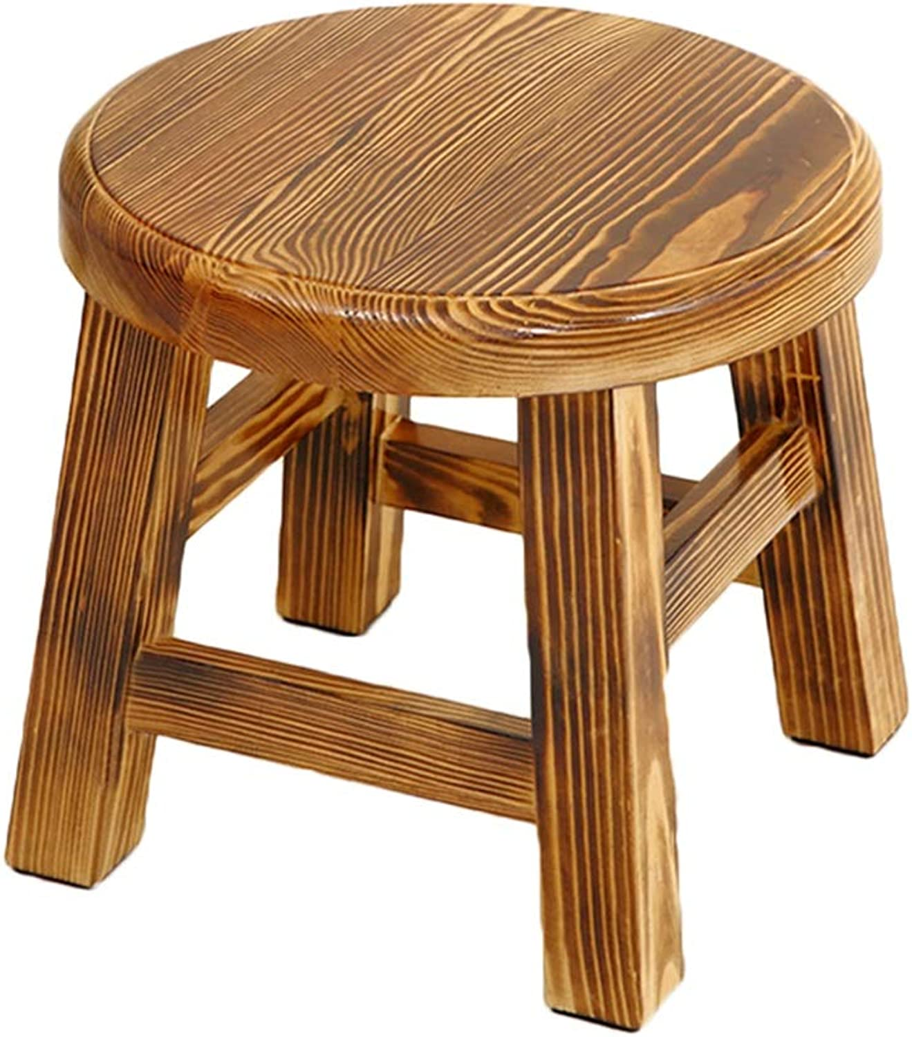 Stool Change shoes Stool Pine Household Solid Wood Small Stool Fashion Creative Simple Modern Adult Coffee Table Stool High 26cm ZHAOSHUNLI (color   Charcoal Burnt)