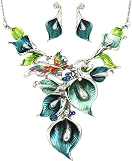 DianaL Boutique Silver Tone Rhodium Plated Amazing Floral Green Blue Teal Butterfly Orchid Flowers Necklace and Earrings Set Gift Boxed Fashion Jewelry YNE2714-BL