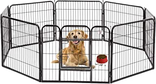 BestPet Pet Playpen 8 Panel Indoor Outdoor Folding Metal Protable Puppy Exercise Pen Dog Fence,24