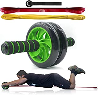 Ab Roller Wheel Kit with Resistance Bands. Attach Bands to Add Assistance to Your Ab Wheel and Complete More Reps. Our Double Roller Ab Wheel is More Stable and Easier to Use. Perfect for Beginners