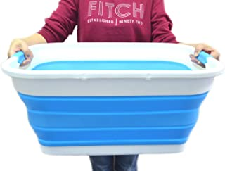 SAMMART Collapsible Plastic Laundry Basket - Foldable Pop Up Storage Container/Organizer - Portable Washing Tub - Space Saving Hamper/Basket (Rectangular, Sky Blue)