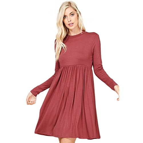 5e098894cd57 Annabelle Women's Long Sleeve Pleated Babydoll Midi Dress with Pockets