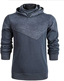 Men's Hoodies Plain Long Sleeve Turtle Neck Pullover Patchwork Cozy Casual Hooded Sweatshirts by URIBAKE